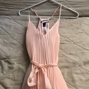 NWOT peach Pleated belted chiffon dress